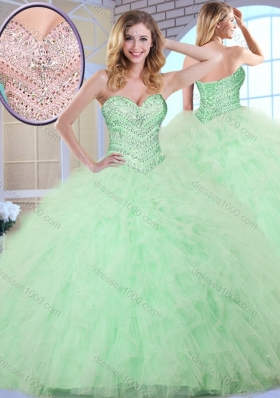 New Style Ball Gown Apple Green Sweet 16 Dresses with Beading and Ruffles