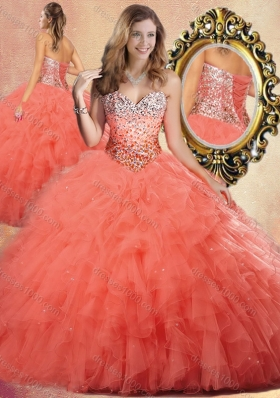 Pretty Ball Gown Sweet 16 Dresses with Beading and Ruffles