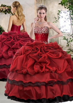 Romantic Ball Gown Beading and Pick Ups Sweet 16 Gowns in Wine Red