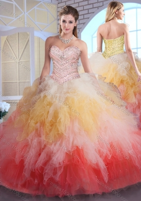 Romantic Ball Gown Sweet 16 Dresses in Multi Color with Beading and Ruffles
