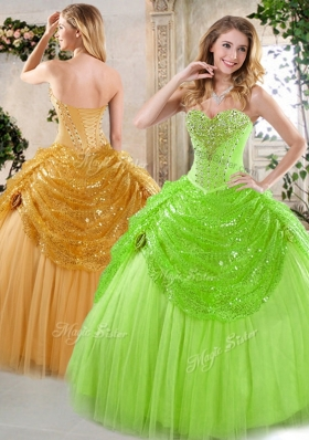 New Arrivals Sweetheart Beading and Paillette Quinceanera Gowns for Spring