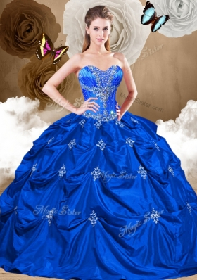 Perfect Sweetheart Quinceanera Gowns with Appliques and Pick Ups