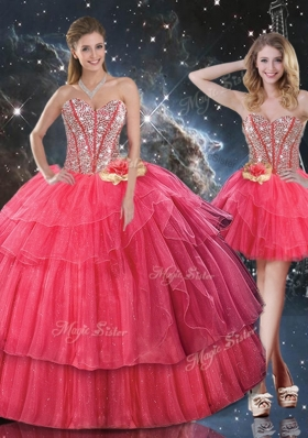 201 6Lovely Sweetheart Detachable Quinceanera Gowns with Beading for Fall