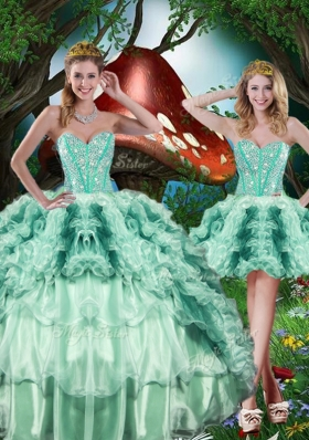 2016 Beautiful Detachable Quinceanera Gowns  Beading and Ruffles