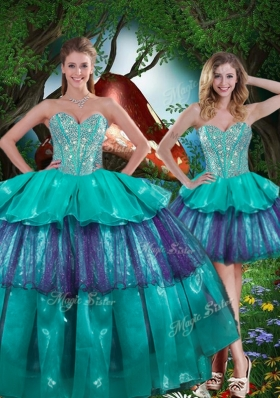 2016 Beautiful Detachable Quinceanera Gowns with Beading and Ruffled Layers for Spring