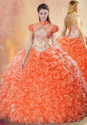 2016 Best Straps Brush Train Sweet 16 Dresses with Ruffles