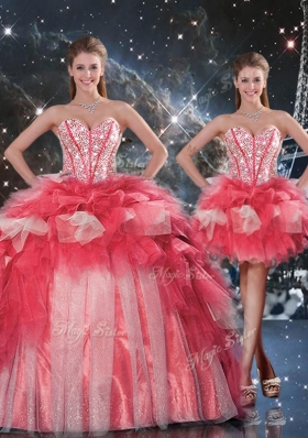 2016 Fashionable Puffy Sweetheart Detachable Beading Quinceanera Gowns for Winter