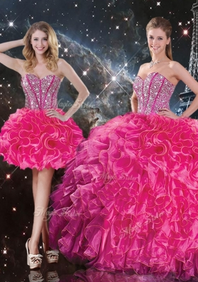2016 Fashionable Sweetheart Hot Pink Detachable Quinceanera Gowns with Beading