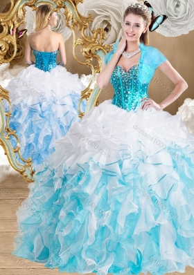 Beautiful Ball Gown Sweetheart Quinceanera Gowns with Beading and Ruffles