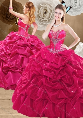 Discount Brush Train Hot Pink Sweet 16 Dresses with Pick Ups