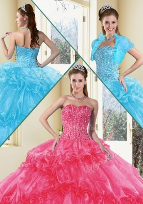 Fashionable Ball Gown Quinceanera Gowns with Beading and Ruffled Layers