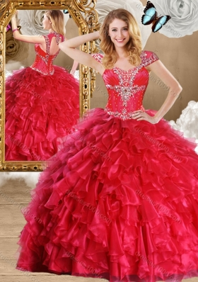 Fashionable Red Quinceanera Gowns with Beading and Ruffles