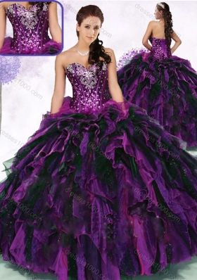 Gorgeous Sweetheart Multi Color Quinceanera Gowns with Ruffles and Sequins