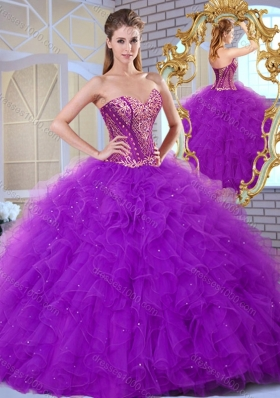 Inexpensive Sweetheart Ruffles and Appliques Sweet 16 Gowns