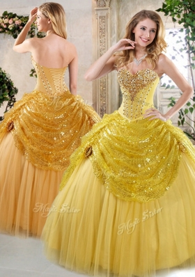 Latest Ball Gown Sweet 16 Dresses with Beading and Paillette for Fall