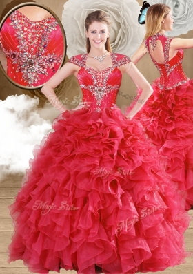 Latest Beading and Ruffles Quinceanera Gowns in Red
