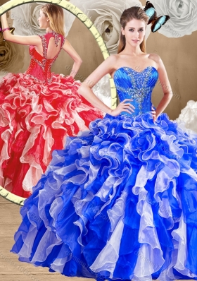 Latest Sweetheart Multi Color Sweet 16 Dresses with Ruffles