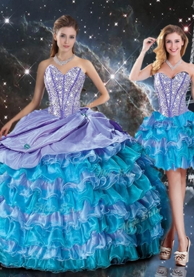 Luxurious Sweetheart Detachable Quinceanera Gowns with Beading and Ruffled Layers