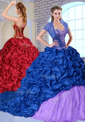 New Style Sweetheart Brush Train Pick Ups and Appliques Quinceanera Dresses
