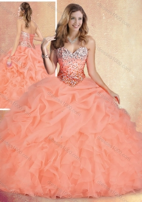 Popular Brush Train Sweet 16 Gowns with Ruffles and Bubles