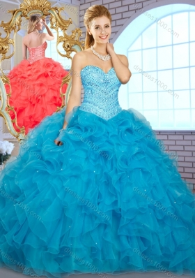 Pretty Ball Gown Teal Quinceanera Gowns with Beading and Ruffles