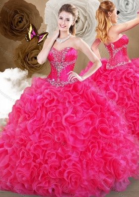 Pretty Hot Pink Sweetheart Quinceanera Gowns with Ruffles
