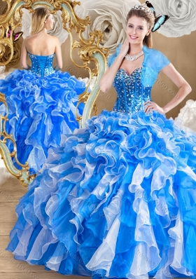 Pretty Multi Color Quinceanera Gowns with Ruffles and Beading