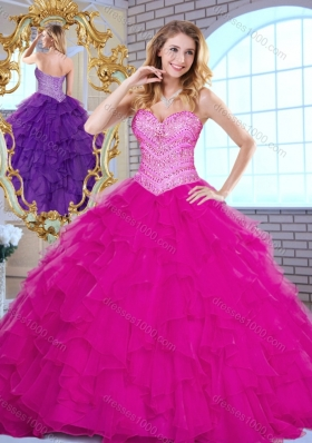 Pretty Sweetheart Beading and Ruffles Quinceanera Dresses in Fuchsia