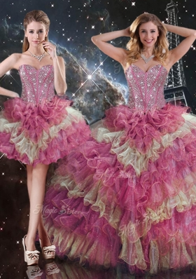 2016 Gorgeous Ball Gown Sweetheart Detachable Quinceanera Gowns for Fall