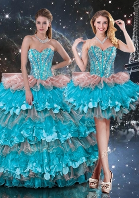 2016 Luxurious Detachable Sweetheart Ruffled Layers Quinceanera Gowns