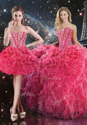 2016 Luxurious Sweetheart Detachable Sweet 16 Dresses with Beading for Fall