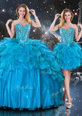 2016 New Arrivals Detachable Sweetheart  Quinceanera Gowns  with Beading in Blue