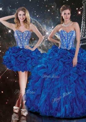 2016 New Style Sweetheart Detachable Beading Quinceanera Gowns in Blue