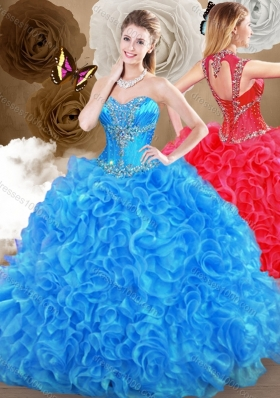 2016 Pretty Blue Sweet 16 Gowns with Beading and Ruffles