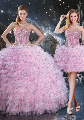 2016 Pretty Detachable Quinceanera Gowns with Beading and Ruffles