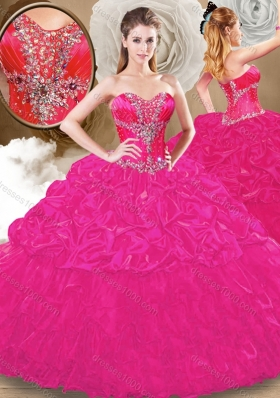 Best Sweetheart Fuchsia Sweet 16 Gowns with Pick Ups