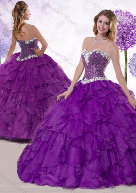 Low Price Ball Gown Sweetheart Quinceanera Gowns with Ruffles and Sequins