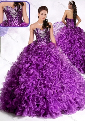 Luxurious Ball Gown Sweetheart Ruffles and Sequins Quinceanera Dresses