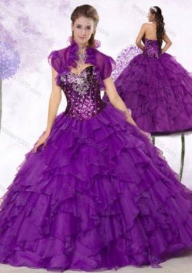 New Style Sweetheart Ruffles and Sequins Quinceanera Dresses in Purple