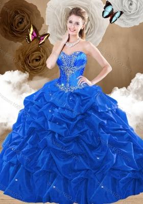 Simple Brush Train Sweetheart Quinceanera Dresses with Pick Ups
