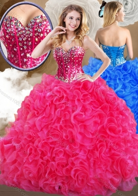 Super Hot Sweetheart Hot Pink Quinceanera Gowns with Ruffles