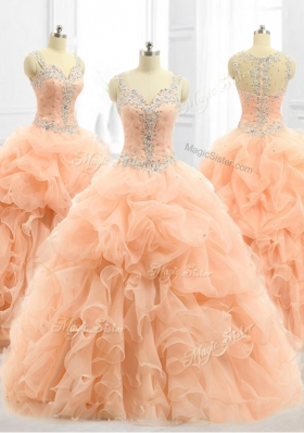 Cheap Straps Beading and Ruffles Quinceanera Dresses in Peach