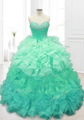 Beautiful Beading and Ruffles Sweet 16 Dresses in Apple Green