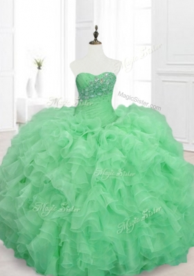 Elegant Beading and Ruffles Sweetheart Quinceanera Dresses in Green