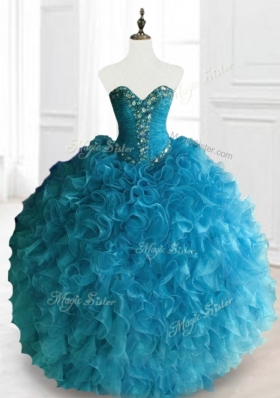 Latest Beading and Ruffles Sweetheart Quinceanera Dresses in Blue