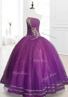 Perfect Strapless Purple Floor Length Quinceanera Gowns with Beading