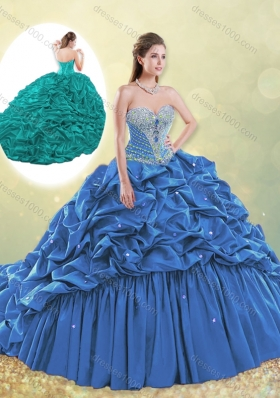 2016 Classical Taffeta Blue Quinceanera Dress with Beading and Bubbles