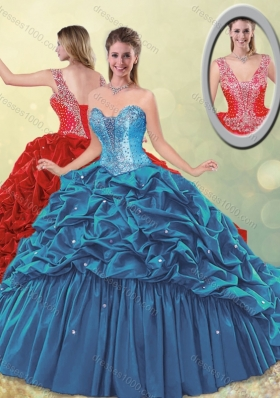 2016 Elegant Puffy Skirt Beaded Teal Quinceanera Dress with Brush Train