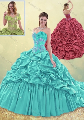 2016 Exquisite Brush Train Taffeta Quinceanera Dress in Aqua Blue