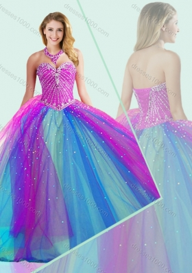 Big Puffy Beaded Quinceanera Dress in Multi Color